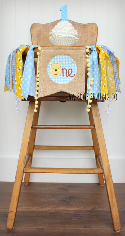 Winnie The Pooh Highchair Banner 1st Birthday Party Decoration - Raw Edge Sewing Co