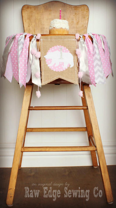 Bear Winter Highchair Banner 1st Birthday Party Decoration - Raw Edge Sewing Co