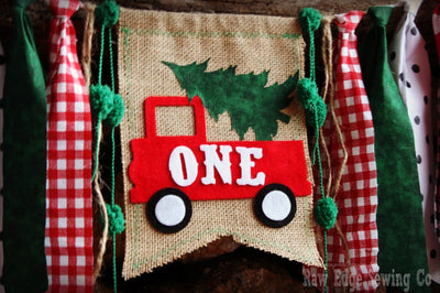 Christmas Tree Truck Highchair Banner 1st Birthday Party Decoration - Raw Edge Sewing Co