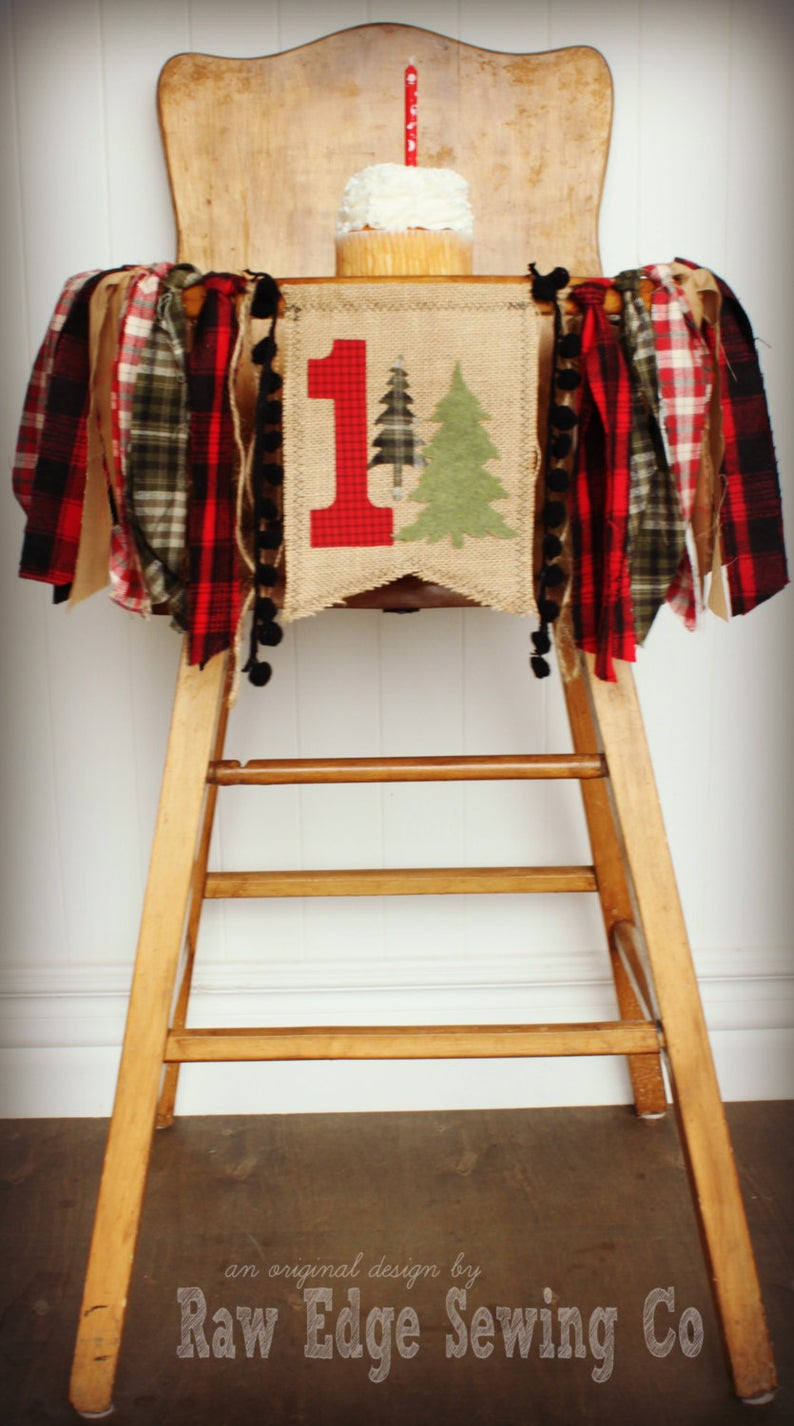 Lumberjack Highchair Banner 1st Birthday Party Decoration - Raw Edge Sewing Co