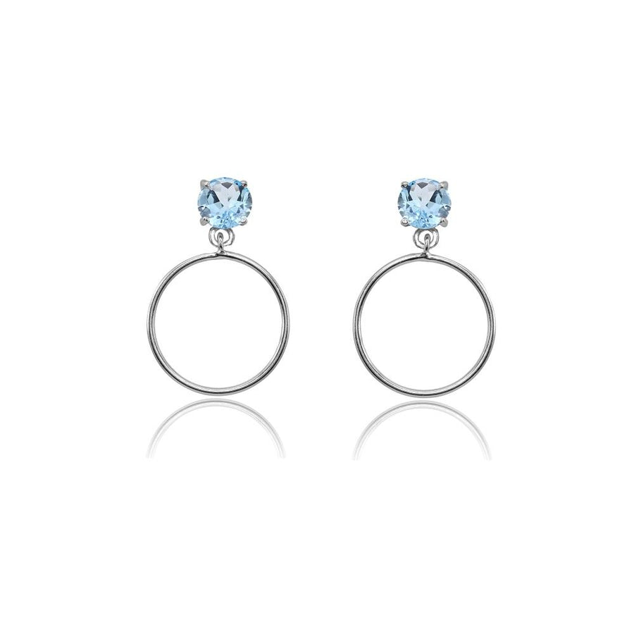Blue Topaz Dangling Hoops
