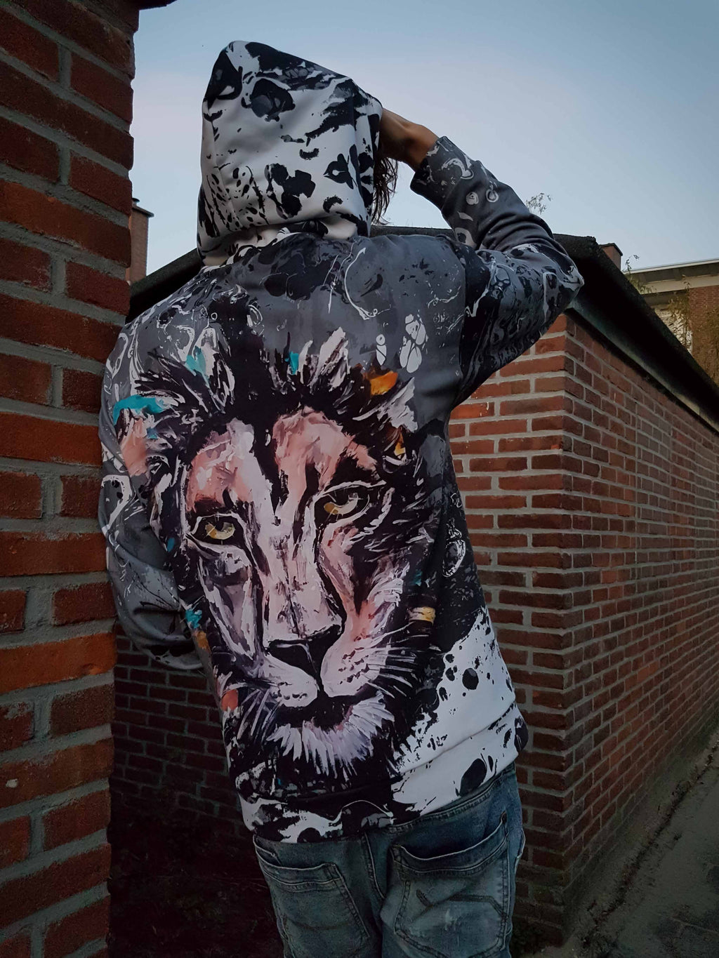grey lion hoodie mens and womens leo hooded sweatshirt polyester