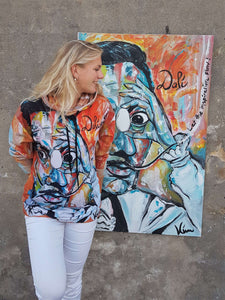 from a painting of the artist Salvador Dali made by Kim Vermeulen, this hoodie is a very lively and vibrant clothing piece to wear