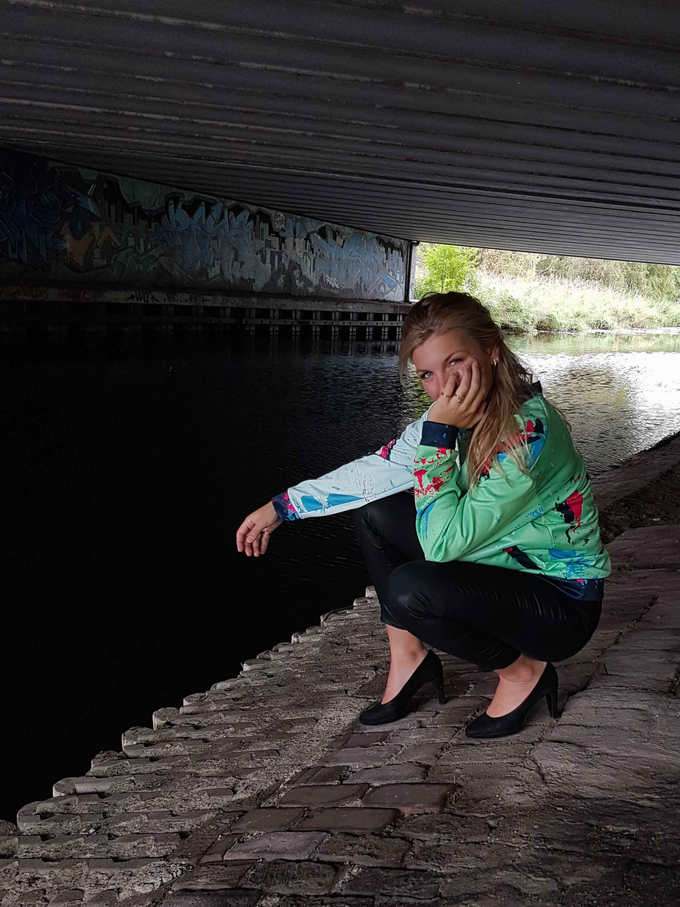 Green Jacket with futuristic retro vibe and fleece inside for men and women