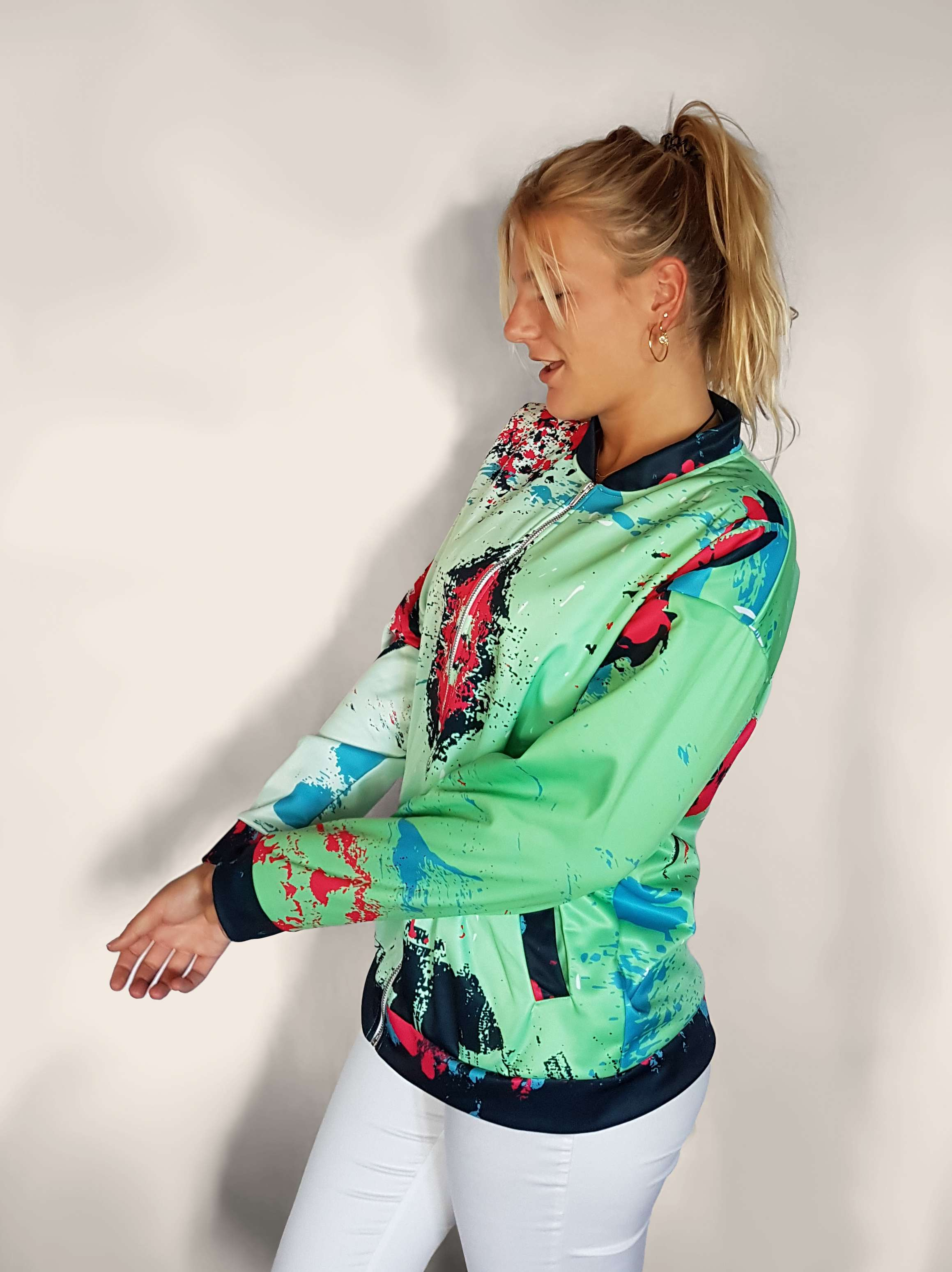 lime green modern art mens and womens jacket sizes go from XS to XXXL