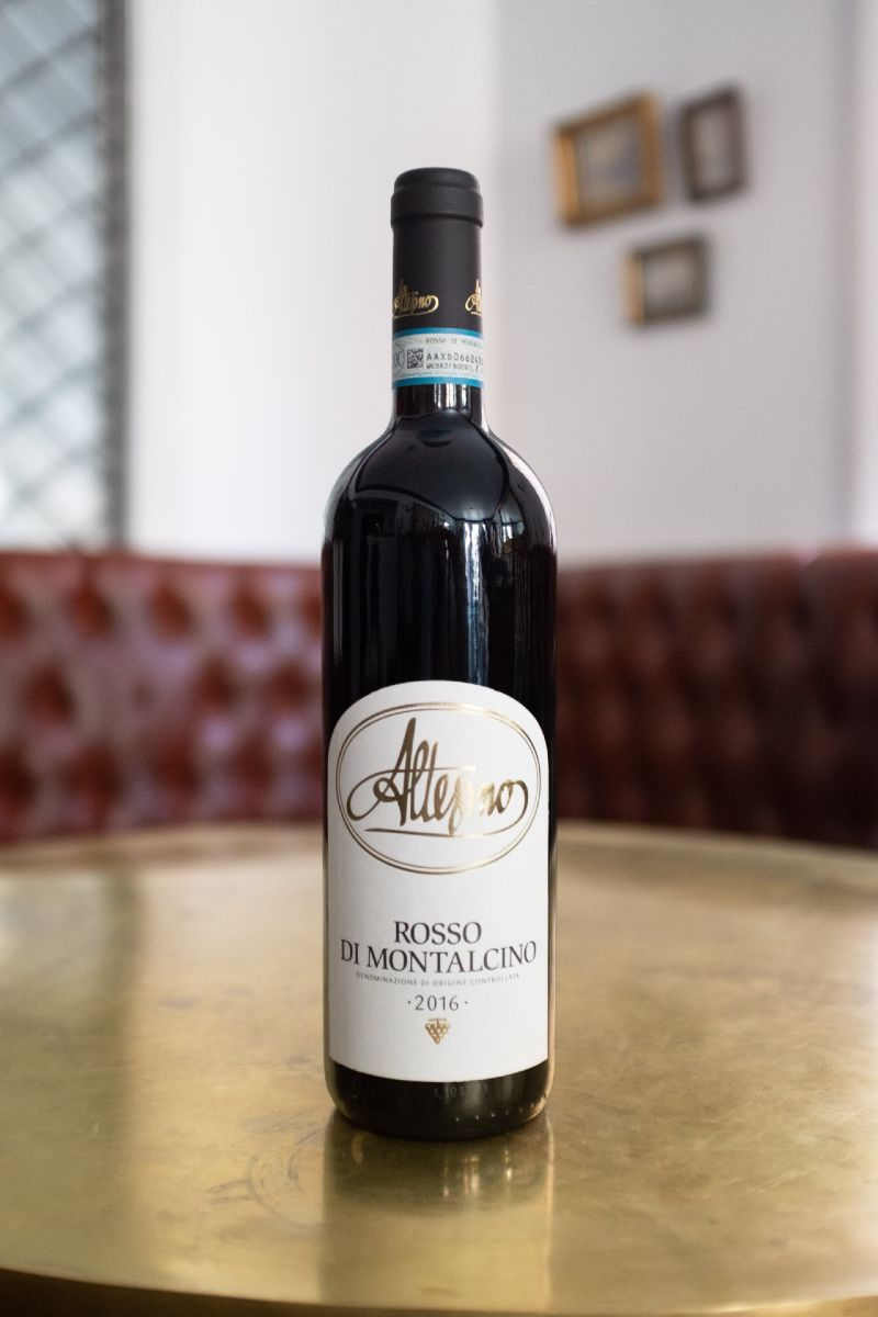 Altesino, Rosso di Montalcino. Well-rounded, rich, fruit-forward with a bit of leather. A classic Rosso