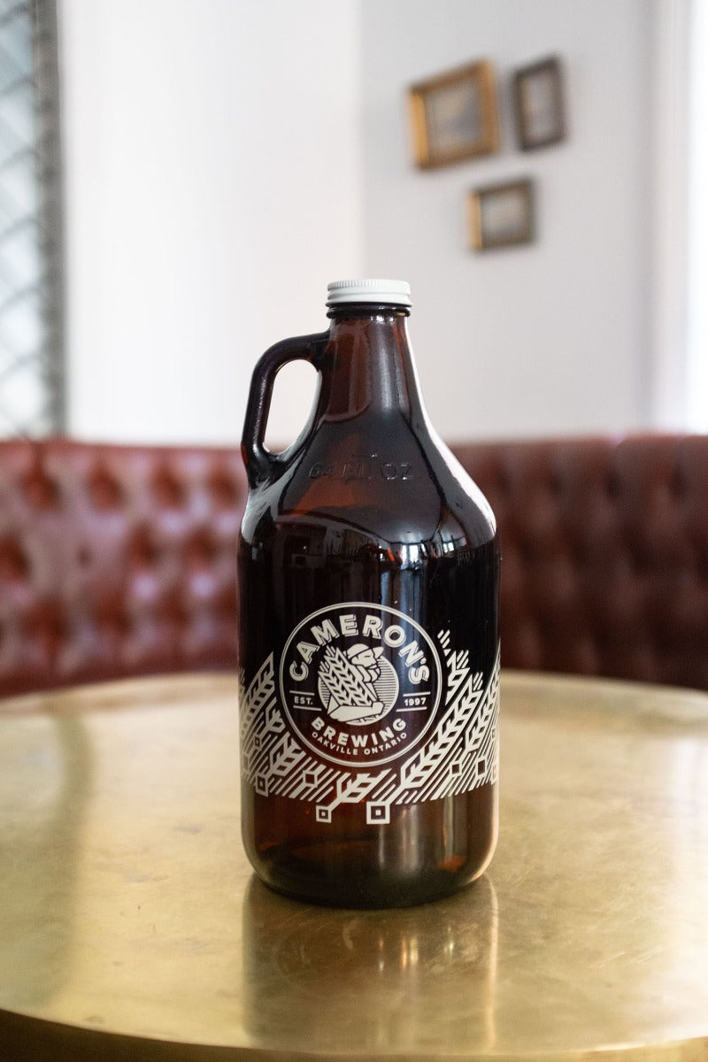 Cameron's Brewing Crooked Nose Stout is a rich coffee stout. Craft beer growler.