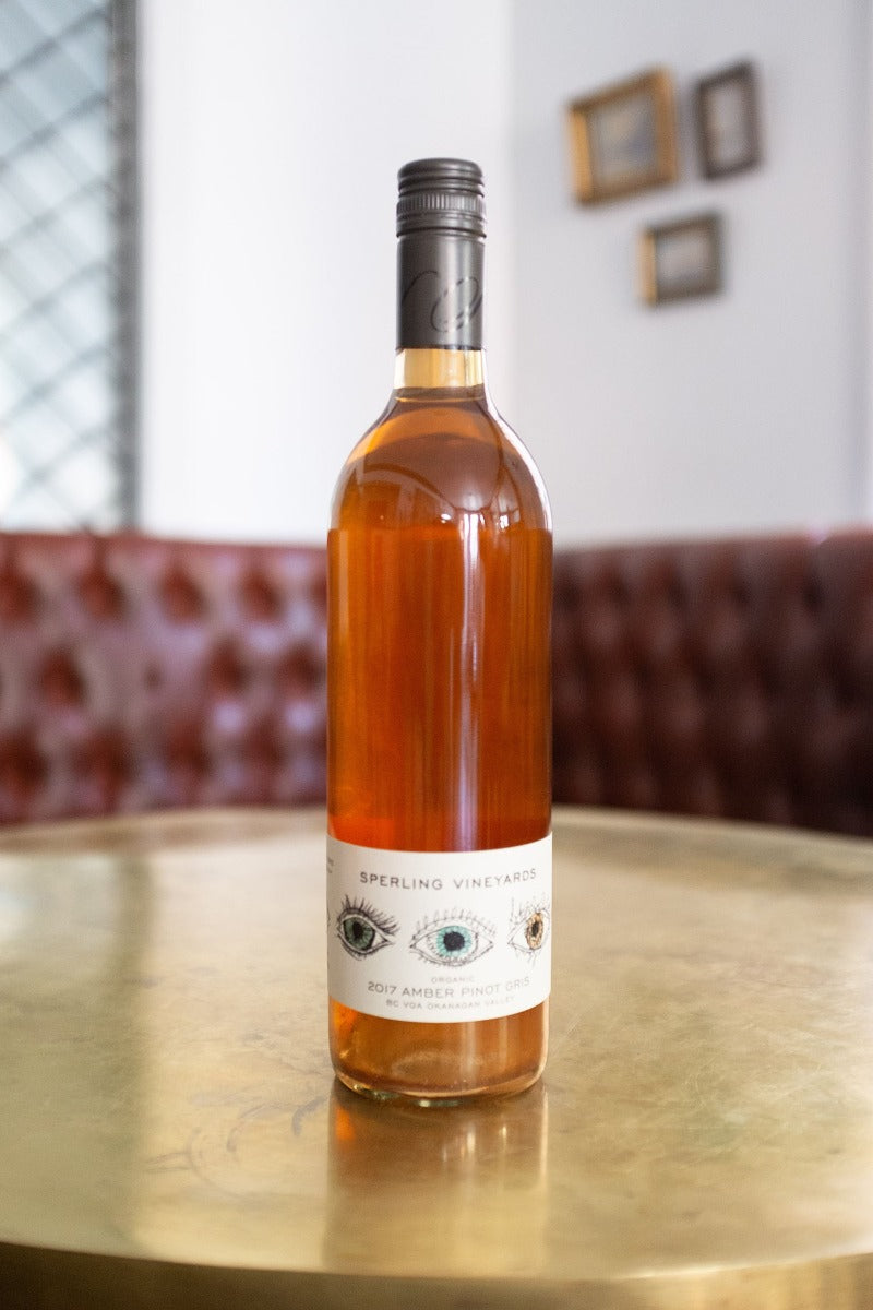 Sperling Amber Pinot Gris. Orange, natural wine with aromas of pear & stone fruits.