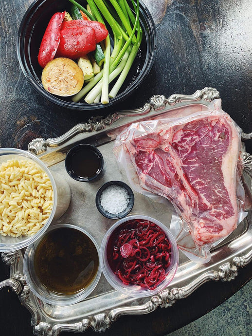 At-home cooking kit. Bistecca all Fiorentina is a 46oz Porterhouse Steak served with a pasta salad, seasonal vegetables be grilled, and Tuscan olive oil.