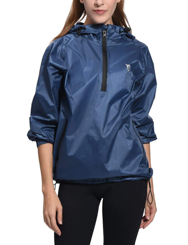 BALEAF Women's Weatherproof Thin Hooded Rain Jacket Outdoor Windbreaker Black S