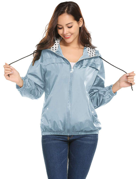 LOMON Womens Rain Jacket Lightweight Waterproof Hooded Raincoat Active Outdoor Windbreaker
