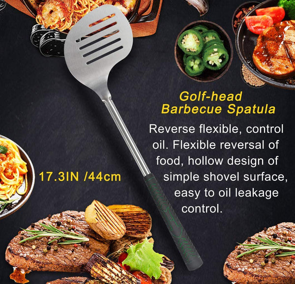 POLIGO 7pcs Golf-Club Style BBQ Grill Tool Set with Rubber Handle - Stainless Steel Barbecue Grilling Accessories in Golf-Club Style Bag for Camping - Ideal Christmas Birthday Gifts for Dad Men