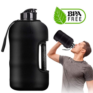 Kaptron Gym Water Bottle with Case - 2.2L Half Gallon Water Bottle with Insulated Sleeve- Bodybuilding Water Bottle - Strong Durable 2.2 Litre Water Jug with Handle - BPA Free Big Sports Water Bottle