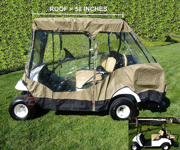 "Formosa Covers Premium Tight Weave Golf Cart Driving Enclosure 2 Passenger Front Seat+ 2 Passenger Bench roof up to 58"" - New Stronger YKK Door Zipper"