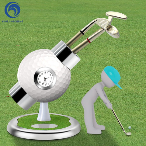 Desk Golf Ball Pen Hold W/Clock