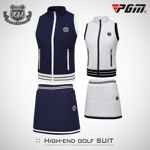 Women's PGM Winter Golf  Vest Thick Velvet Golf Jackets+ Fleece Skirt