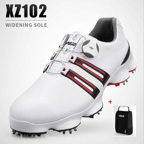 Men's PGM Golf Shoes W/Rotating Shoelaces Waterproof Leather