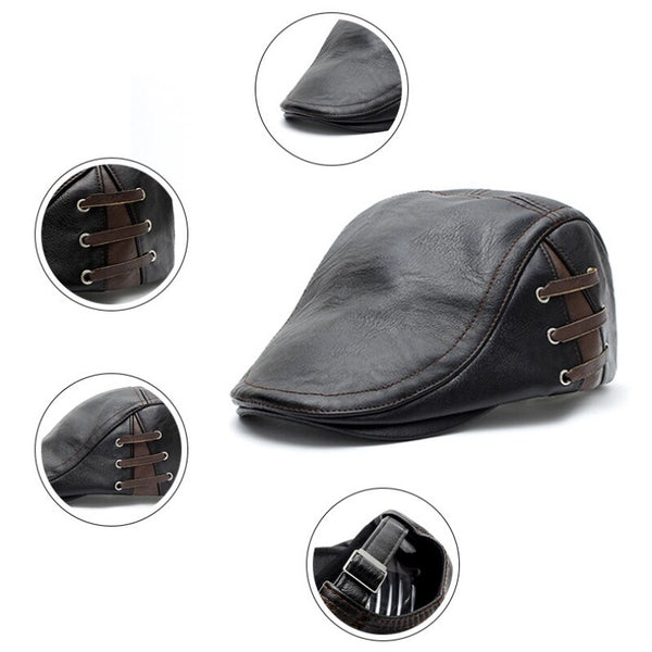 Men's Autumn Winter Leather Golf Beret Cap