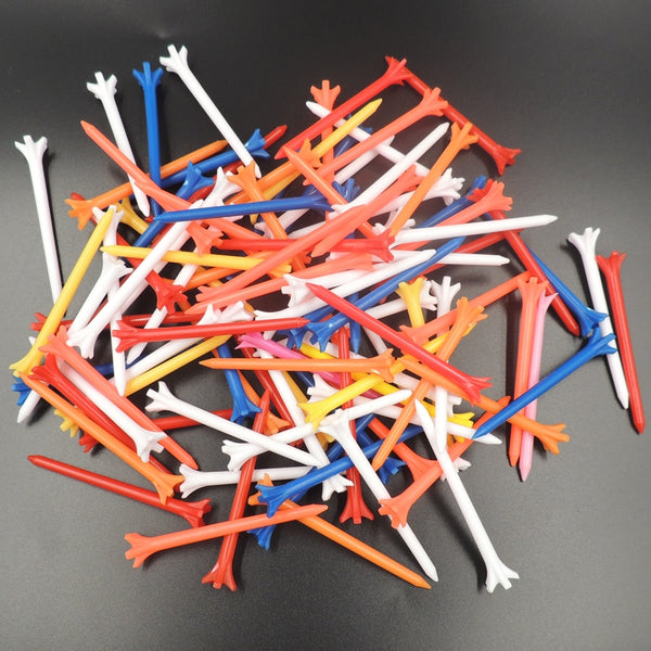 50 - Multi-Color 5 Prong 70 mm Plastic Golf Tees