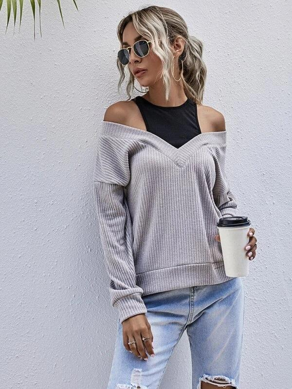 Women 2 In 1 Cut Out Drop Shoulder Sweatshirt