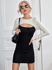 Women 2 In 1 Cut Out Front Bodycon Dress