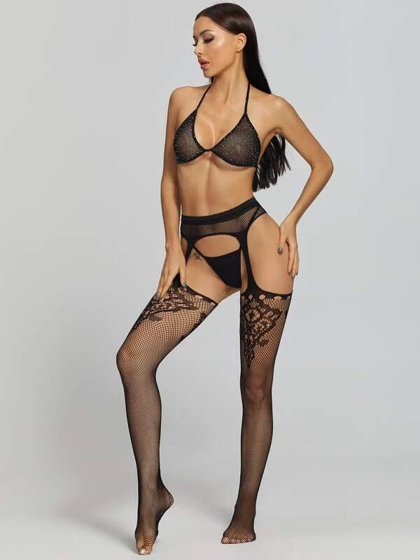 Women 3pack Fishnet Rhinestone Lingerie Set & Cut-out Tights