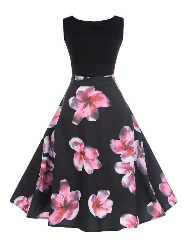 Women 50s Floral Print Zip Back Dress