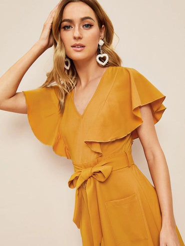 Women 60s Flutter Sleeve Button Front Belted Dress