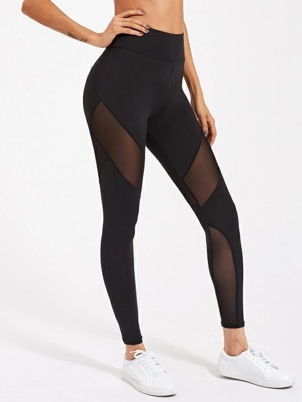 Women Active Mesh Panel Zip Detail Leggings