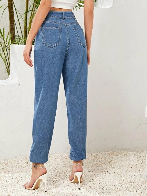Women Adjustable Belted Tapered Jeans