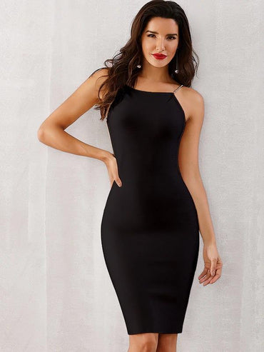 Women Adyce Solid Backless Bodycon Slip Dress
