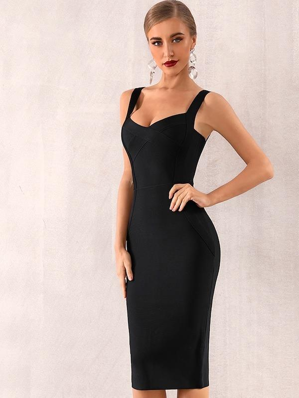 Women Adyce Solid Zip Back Bandage Slip Dress