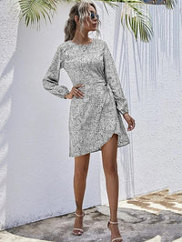 Women All Over Print Knot Side Wrap Hem Dress