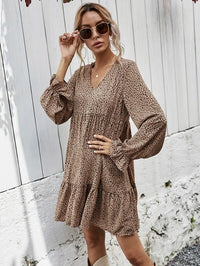 Women All Over Print Ruffle Hem Flounce Sleeve Dress