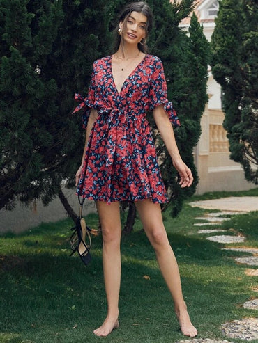 Women Allover Floral Belted A-line Dress