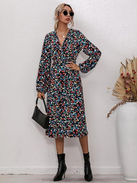 Women Allover Floral Print V-Neck Dress