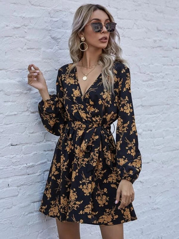 Women Allover Floral Wrap Belted Dress
