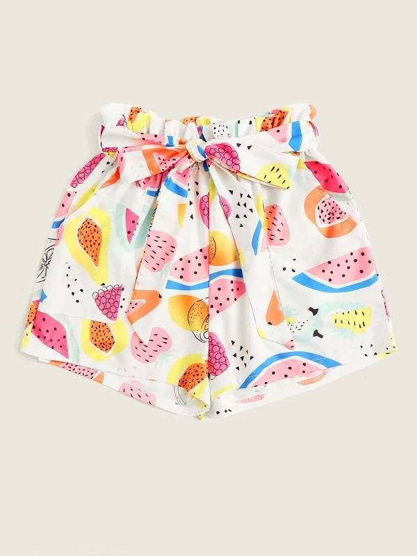 Women Allover Fruit Print Belted Paperbag Shorts