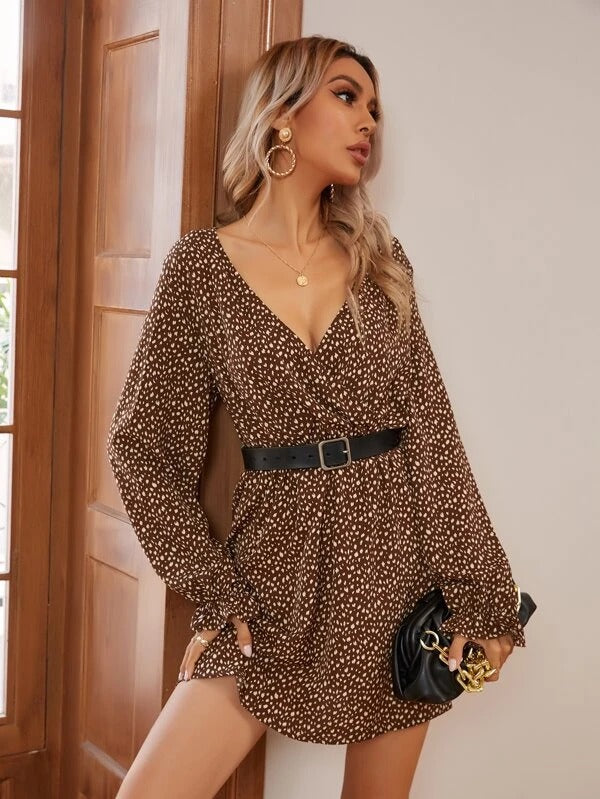Women Allover Print Surplice Front Dress Without Belt