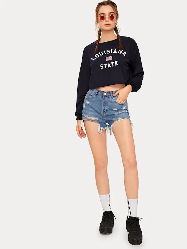 Women American Flag & Letter Crop Sweatshirt