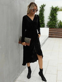 Women Asymmetric Ruffle Hem Surplice Neck Velvet Dress