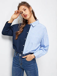 Women Asymmetrical Collar Stripe Spliced Shirt