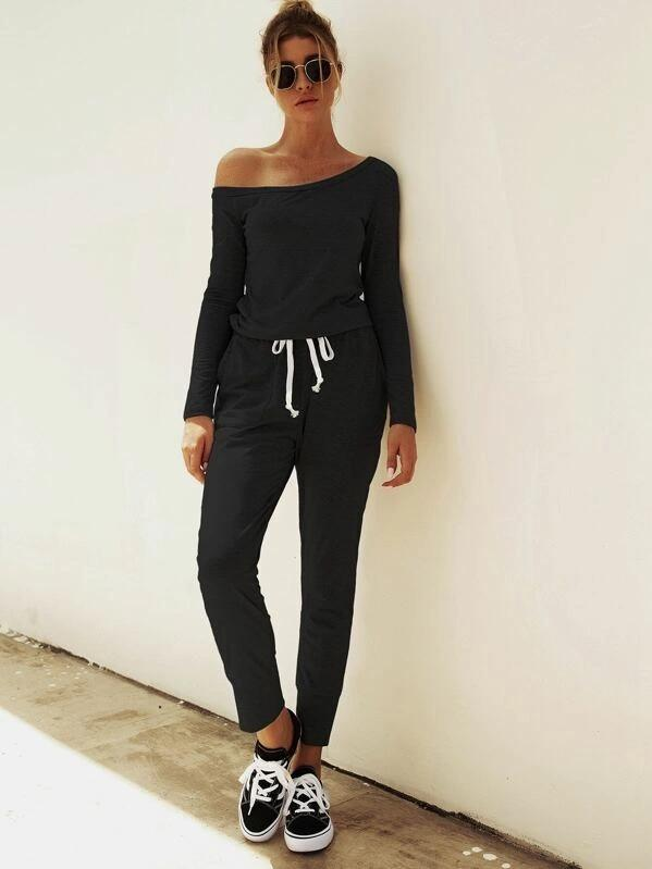 Women Asymmetrical Neck Drawstring Waist Jumpsuit