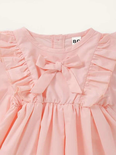 Baby Girl Bow Front Ruffle Trim Dress