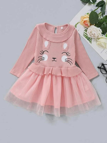 Baby Girl Cartoon Graphic Ear Patched Mesh Hem Dress
