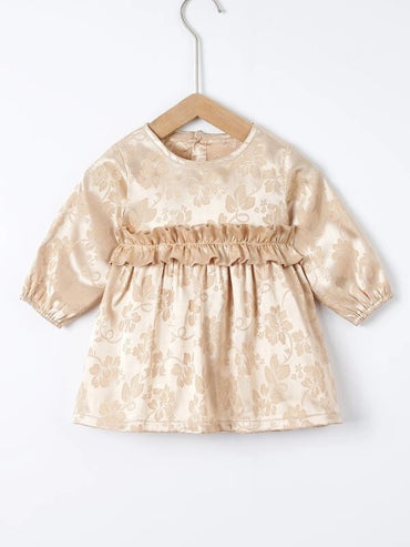 Baby Girl Floral Jacquard Frill Trim Dress
