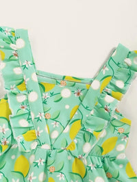 Baby Girl Floral Lemon Print Ruffle A-line Dress