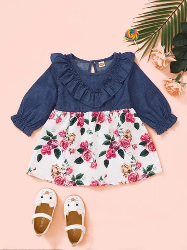 Baby Girl Floral Print Ruffle Trim Dress