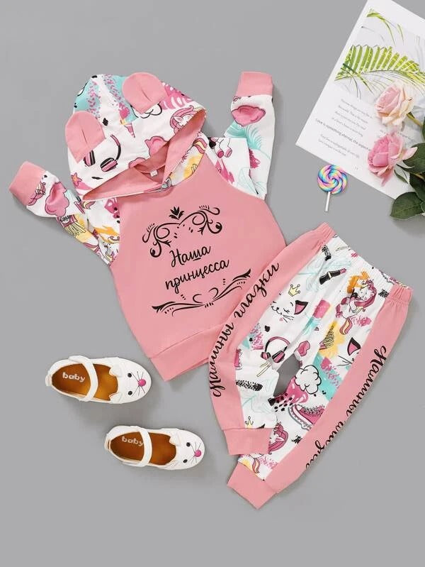 Baby Girl Letter Graphic 3D Ear Hoodie & Pants
