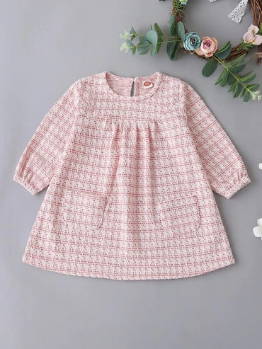 Baby Girl Pocket Button Tweed Dress
